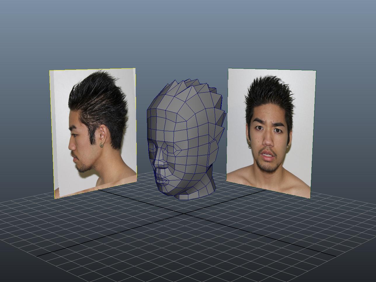 3D tête papier paper head pepakura polygone